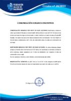 CIRCULAR Nº 20 COMUNICACIÓN HORARIOS ENCONTROS