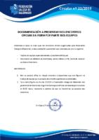 CIRCULAR Nº 22 DOCUMENTACIÓN A PRESENTAR NOS ENCONTROS