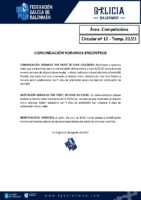 C12 – COMPETICIÓNS. COMUNICACIÓN HORARIOS ENCONTROS