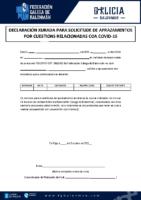 DECLARACIÓN XURADA APRAZAMENTOS COVID