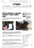 LA OPINIÓN. EXPERTOS DEFENDEN USO MÁSCARA NO DEPORTE